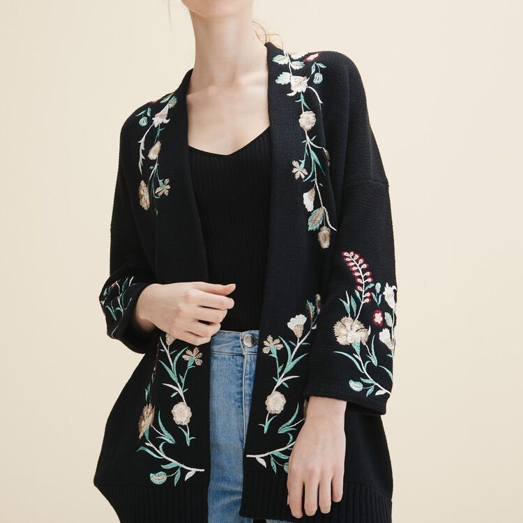 Cardigan with embroidery - Sweaters - MAJE