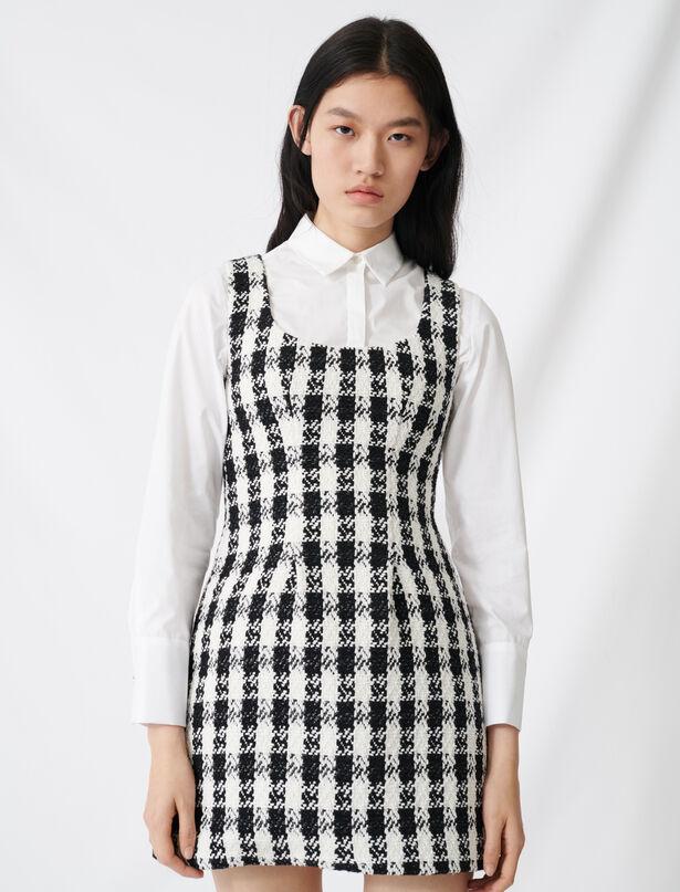 마쥬 트위드 원피스 MAJE 220ROCKY Tweed-style sleeveless dress,Black / White