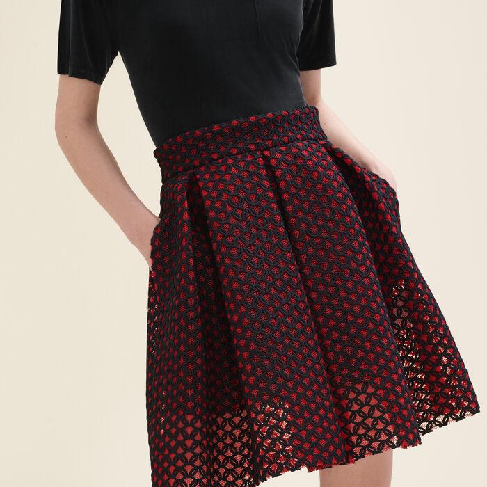 Bonded guipure skater skirt -  - MAJE