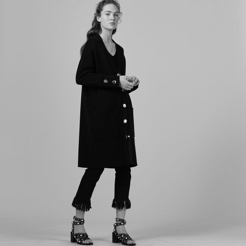 Long locknit cardigan - Sweaters - MAJE