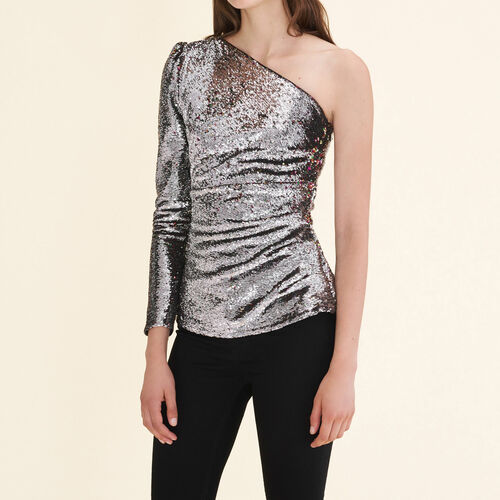 Asymmetrical sequinned top - Tops & T-Shirts - MAJE