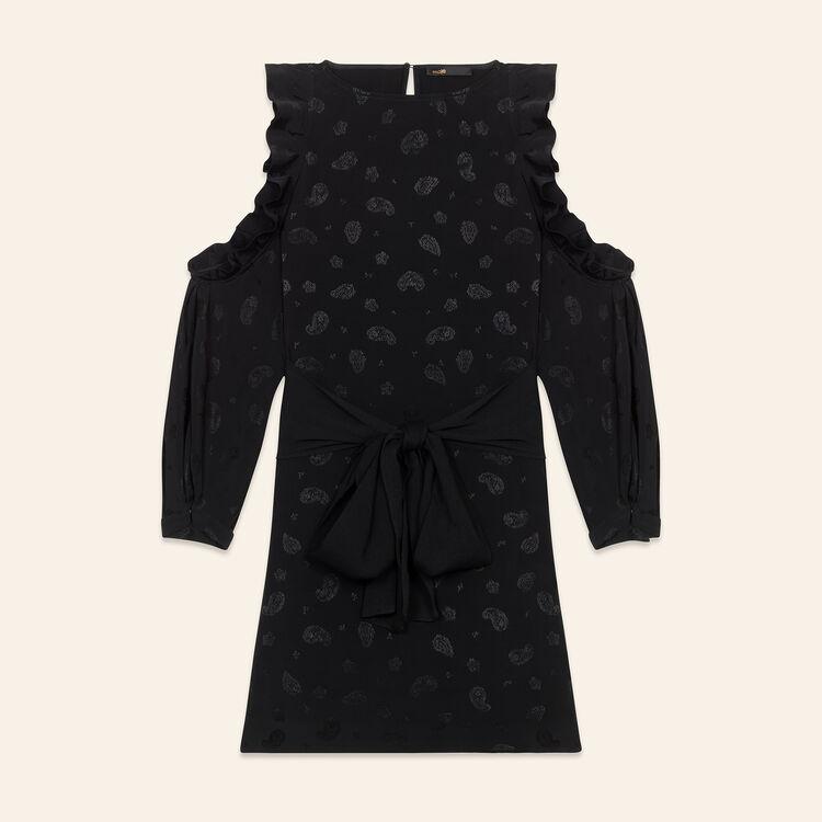 Printed crêpe off-the-shoulder dress - Dresses - MAJE