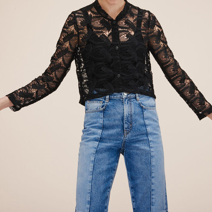 Lace cropped jacket - Coats & Jackets - MAJE