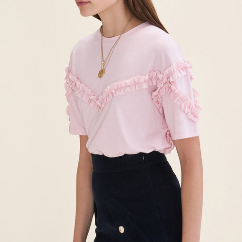 T-shirt with frill detail - Tops & T-Shirts - MAJE