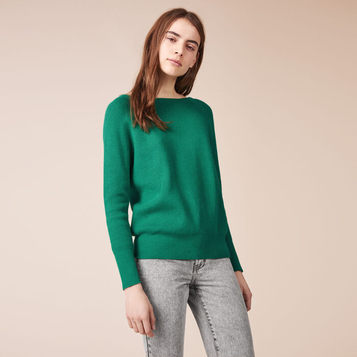 Ribbed knit jumper with detailed back - Sweaters - MAJE