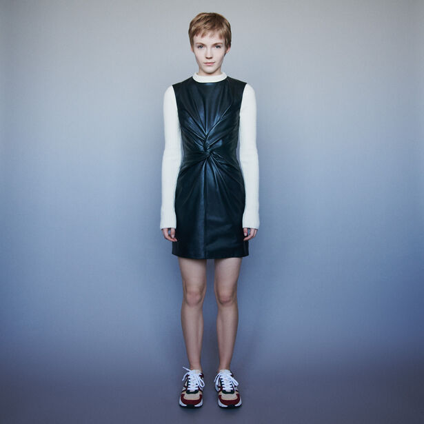 마쥬 민소매 원피스 MAJE 119ROKANE Sleeveless knotted leather dress,Green