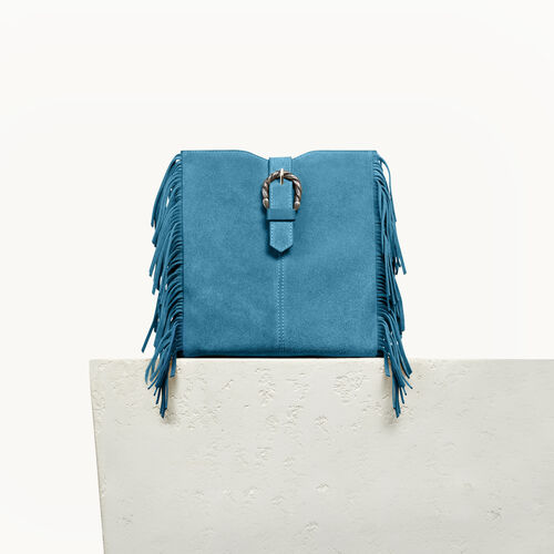 M bag in suede with scalloped buckle - Shoes & Accessories - MAJE
