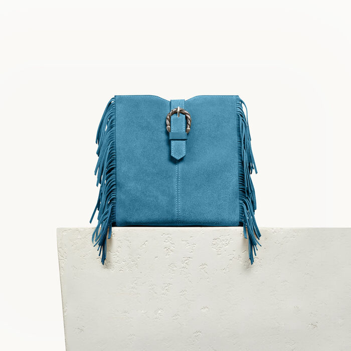 M bag in suede with scalloped buckle -  - MAJE