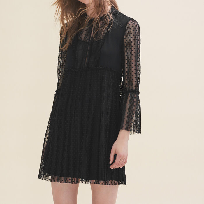 Flowing dress with dotted Swiss -  - MAJE