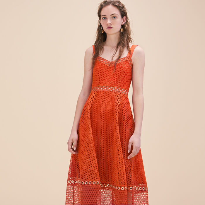 Long embroidered strappy dress -  - MAJE