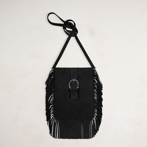 Suede shoulder bag with fringes - Shoes & Accessories - MAJE