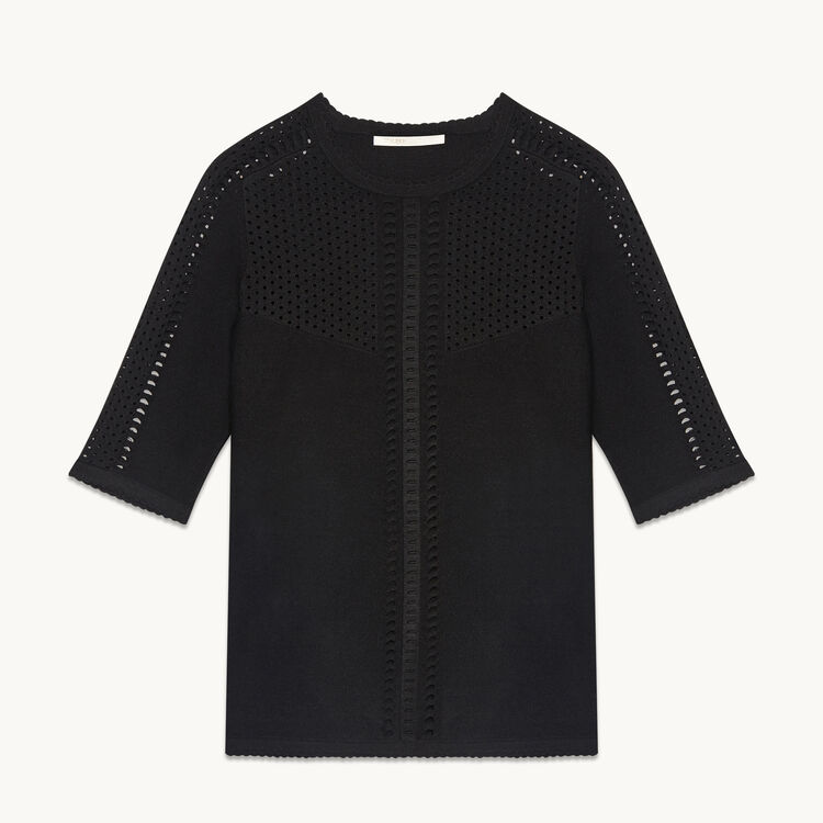 Locknit jumper with openwork - Sweaters - MAJE