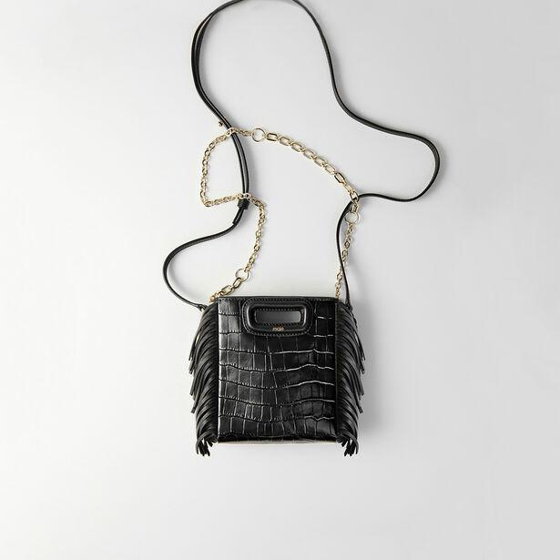 마쥬 엠백 MAJE Mini embossed-leather M bag with chain,Black