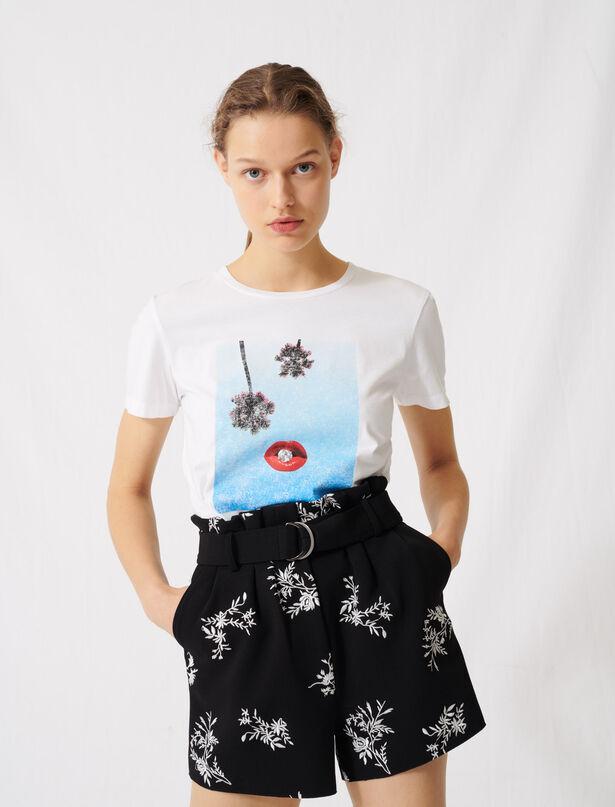 마쥬 티셔츠 MAJE 220TIME White screen-printed T-shirt,White