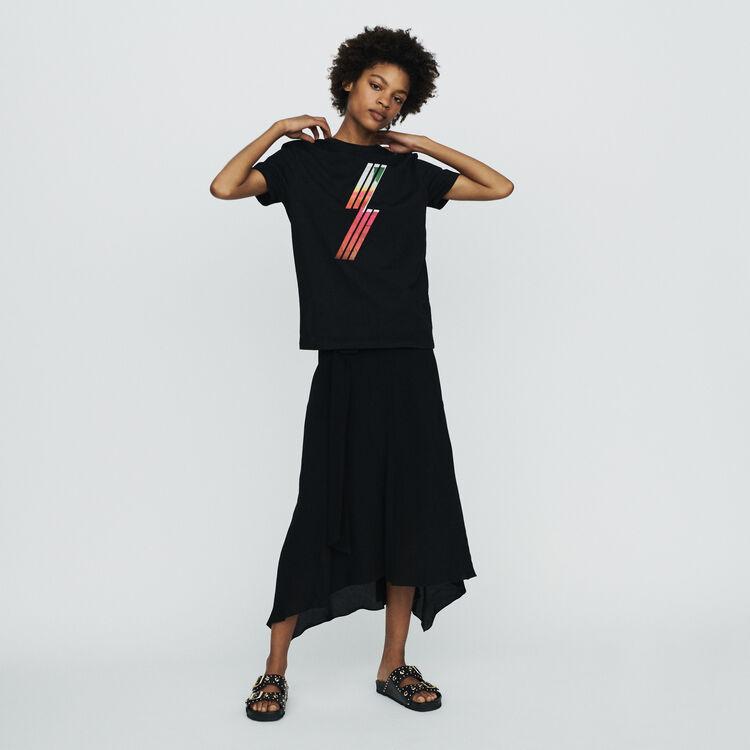 마쥬 TENIO 엠브로이더드 반팔 티셔츠 블랙 210 MAJE Silkscreen embroidered T-shirt,Black 210