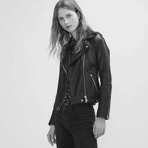 Leather jacket with woven detailing - Coats & Jackets - MAJE