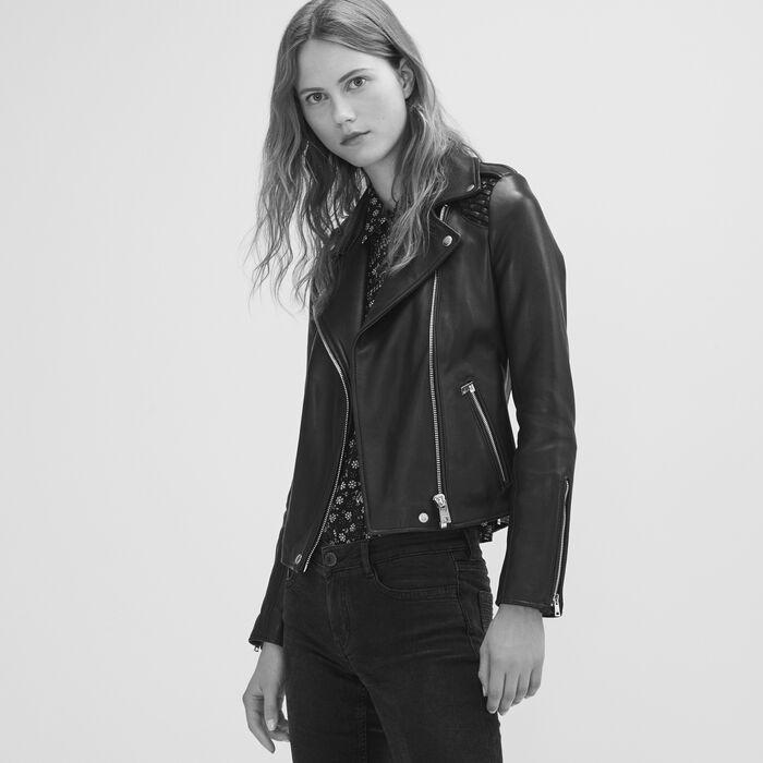 Leather jacket with woven detailing - Coats & Jackets - MAJE