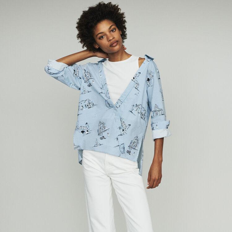 마쥬 LASANE 스트라이프 셔츠 MAJE LASANE Striped shirt with Paris print,Blue