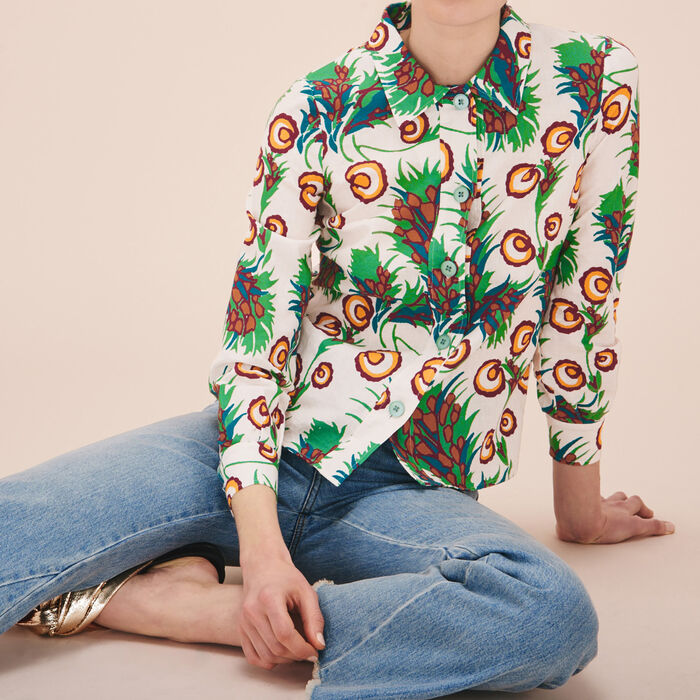 Linen and silk printed shirt -  - MAJE