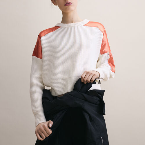 Cropped jumper in full cardigan rib - Maje x Schott - MAJE