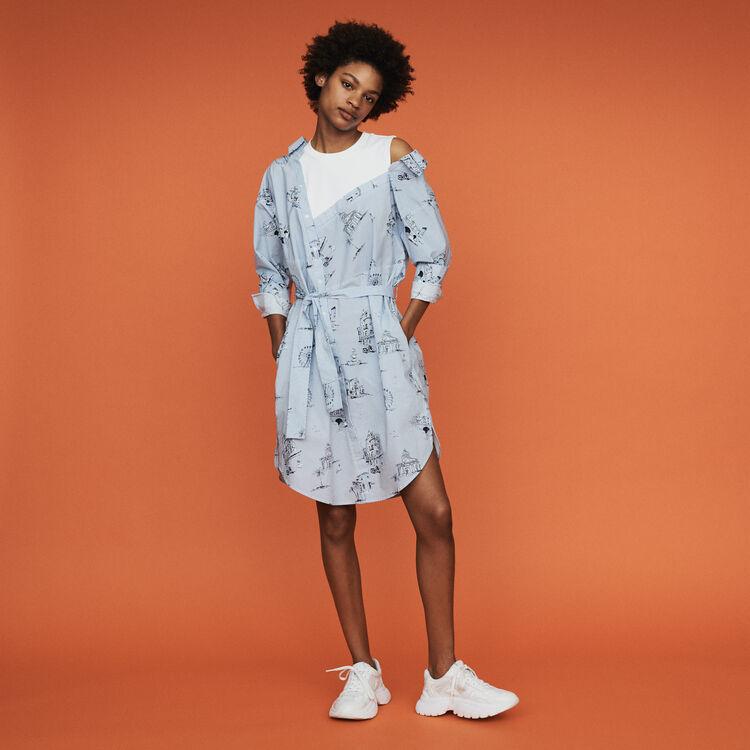 마쥬 RASANE 프린티드 셔츠 원피스 블루 MAJE RASANE Printed shirt dress,Blue