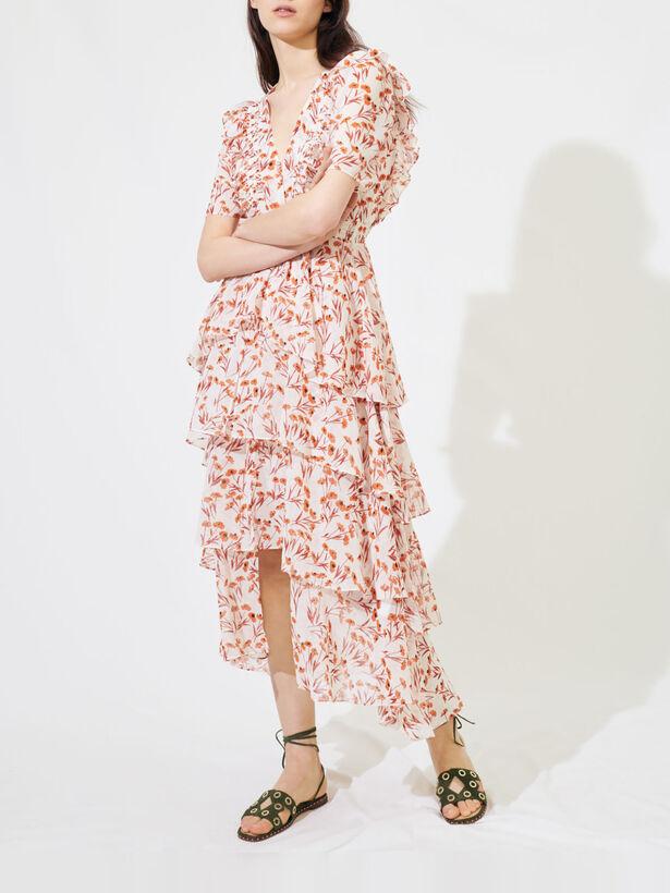 마쥬 플로럴 패턴 프릴 롱 원피스 (나은, 모모 착용) MAJE 220ROMINA Printed maxi dress with ruffles,Terracota
