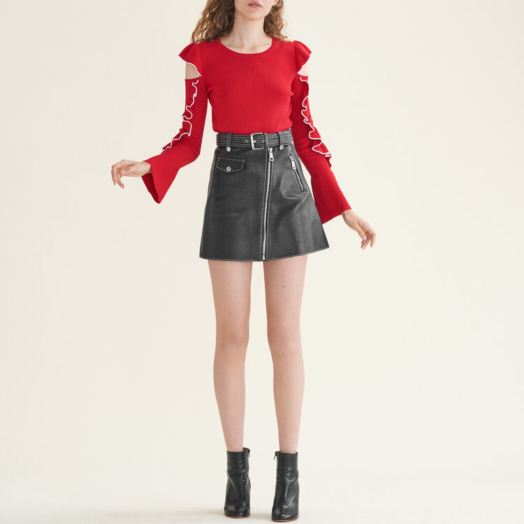 Knitted off-the-shoulder jumper - Sweaters - MAJE