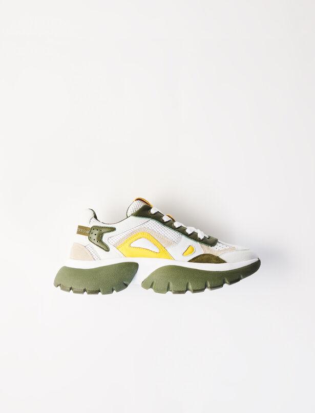마쥬 어글리슈즈 MAJE 220W20POP W20 two-tone sneakers,Khaki
