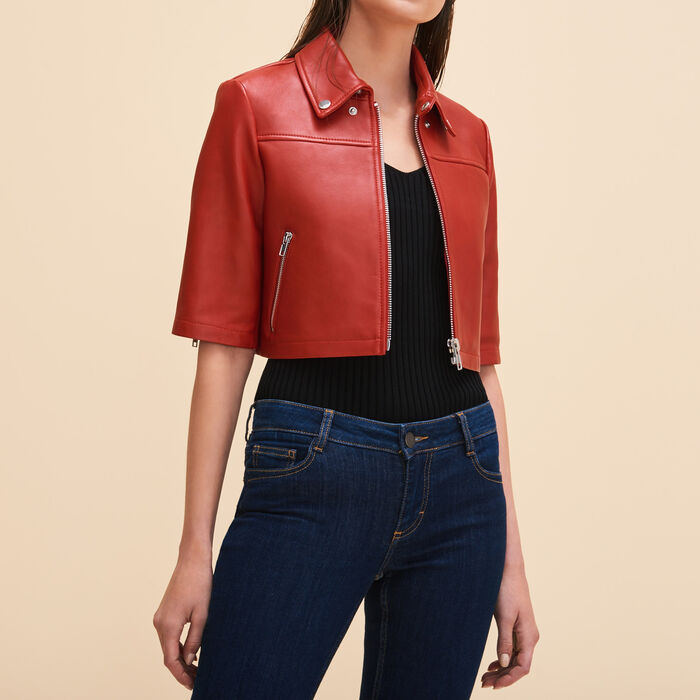 Cropped leather jacket -  - MAJE