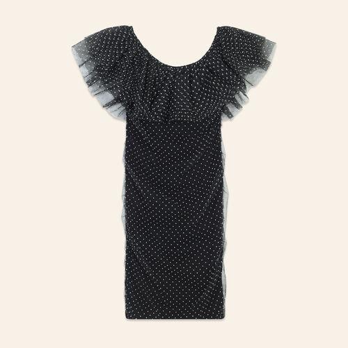 Polka-dot draped dress - Dresses - MAJE