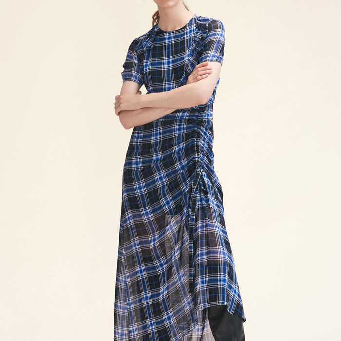 Long checked dress -  - MAJE