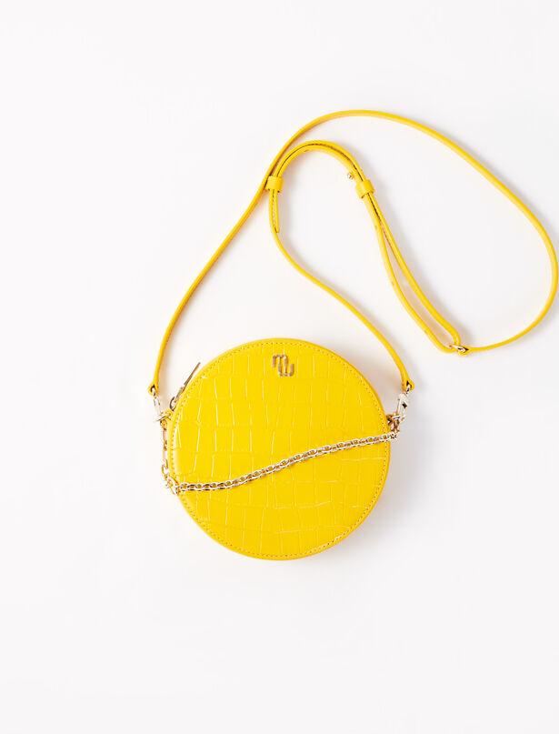 마쥬 라운드 핸드백 MAJE 220DISQUE Round embossed leather handbag