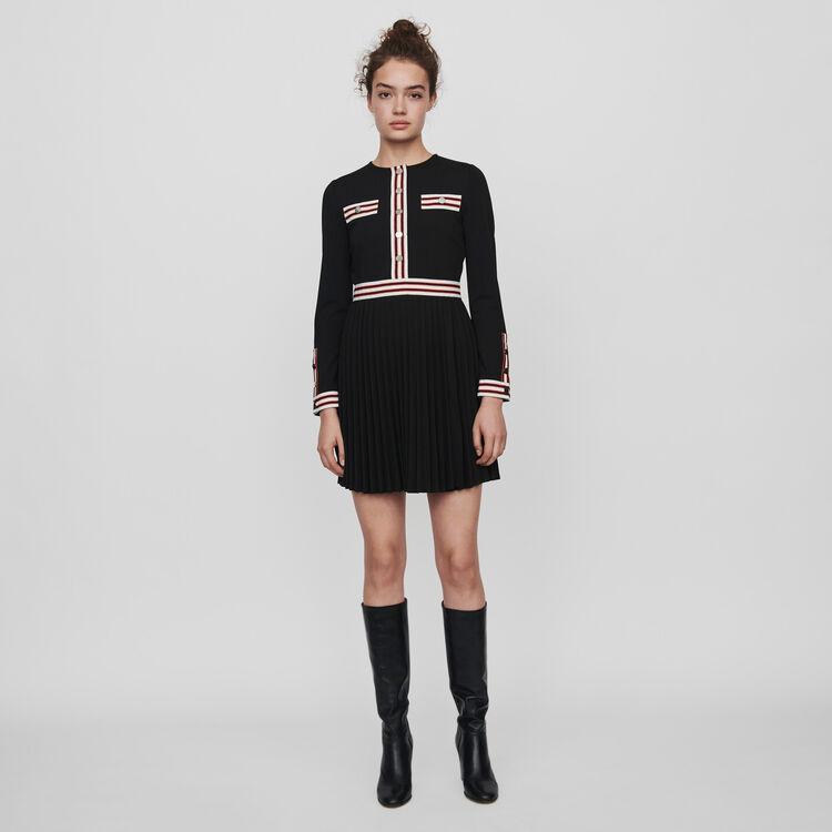 마쥬 MAJE 119ROULI Pleated dress with contrasting stripes,Black