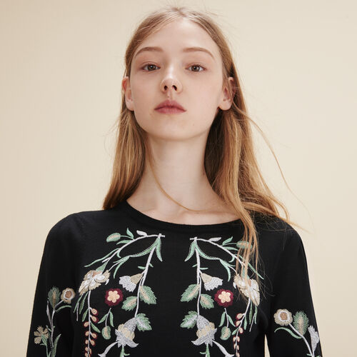 Embroidered jumper - Sweaters - MAJE