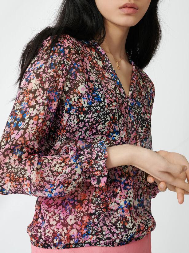 마쥬 플로럴 프린트 실크 탑 MAJE 220LEHANE Floral-print silk top,Black/Pink