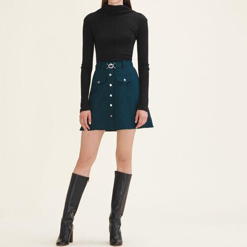 Trapeze skirt with belt - Skirts & Shorts - MAJE