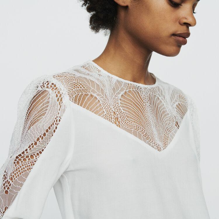 마쥬 LEANA 레이스 시스루 블라우스 MAJE LEANA Top with lace,White