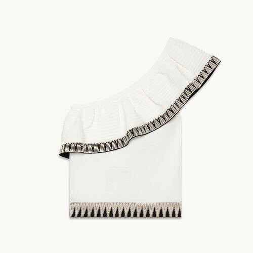 Asymmetrical frilled jumper - Sweaters - MAJE