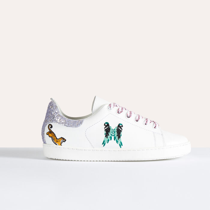 Leather trainers with embroidery - Shoes & Accessories - MAJE