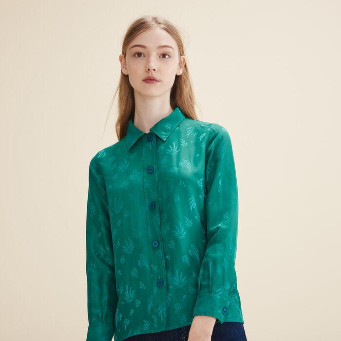 Embroidered silk shirt - Tops & Shirts - MAJE