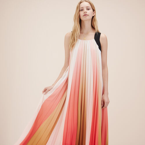 Long multicoloured pleated dress - Dresses - MAJE
