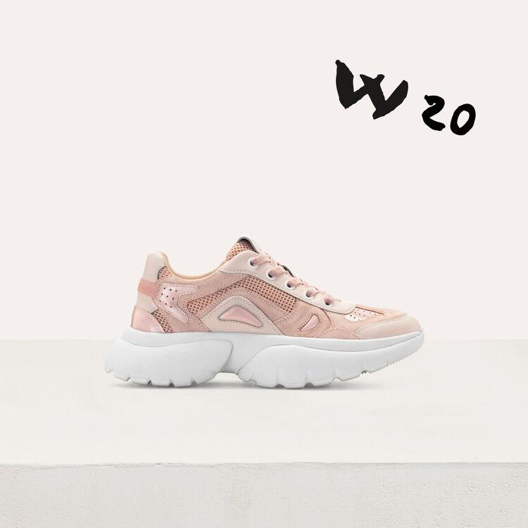 마쥬 W20 어반 스니커즈 핑크 핑크 MAJE FASTER2 W20 leather urban sneakers in leather,Pink