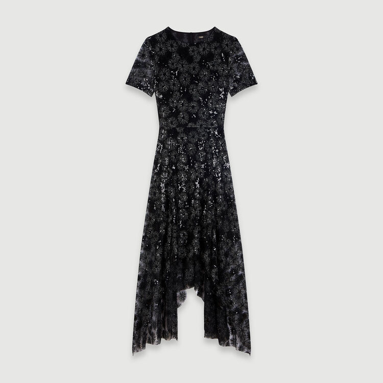마쥬 원피스 MAJE 119RIZIA Long sequin-embroidered tulle dress,Black