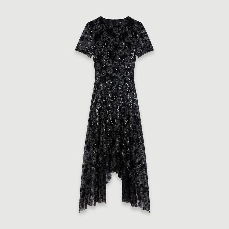 마쥬 MAJE 119RIZIA Long sequin-embroidered tulle dress,Black