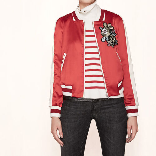 Varsity-style embroidered satin jacket - Coats & Jackets - MAJE