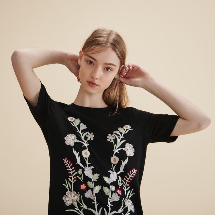 Embroidered T-shirt - Tops & Shirts - MAJE