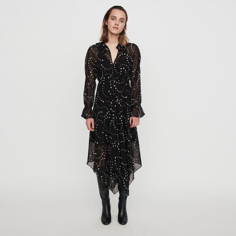 마쥬 MAJE 119RETRO Printed-muslin scarf dress,Black