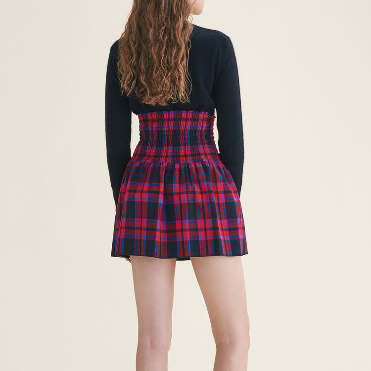 Checked skirt with smocking - Skirts & Shorts - MAJE