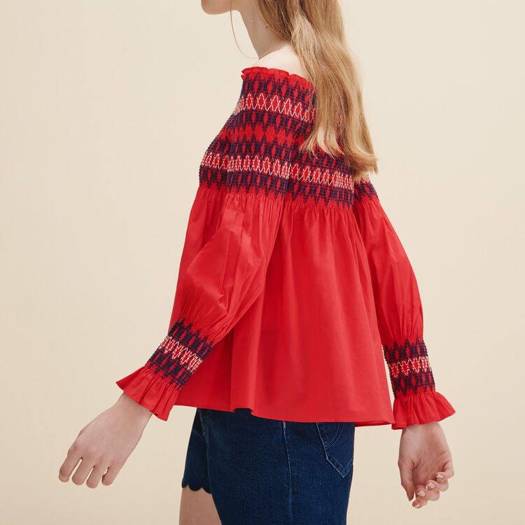Blouse with smocking - Tops & Shirts - MAJE