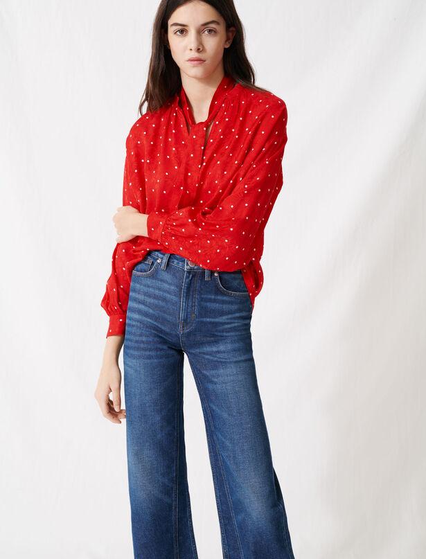 마쥬 오버사이즈 블라우스 MAJE 220LIPIA Floaty oversized polka dot blouse,Red